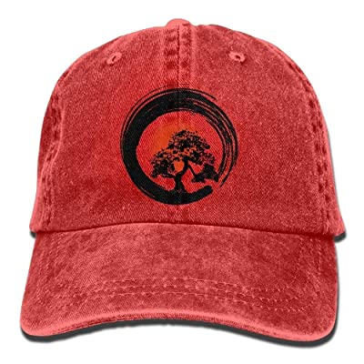 QKBUY Bonsai Tree Japanese Calligraphy Rising Sun Zen Cotton Hat: Sports & Outdoors