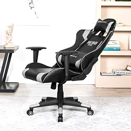 windaze Gaming Chair Adjustable Swivel PU Leather Office Computer Racing Chair with Headrest Lumbar Support, White