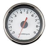 デイトナ(Daytona) 電気式タコメーター (ホワイト/バフ LED照明)9000rpm 汎用 65704