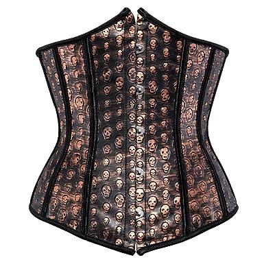 c60c28a7d8 Underbust Corset Tops for Women Plus Size Faux Leather Punk Underwear  Bustier Skull Waist Cincher Brown