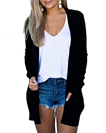 Image Unavailable. Image not available for. Color  Imily Bela Womens Long  Sleeve Casual Open Front Plain Loose Cardigan with Pockets a0e5543c4