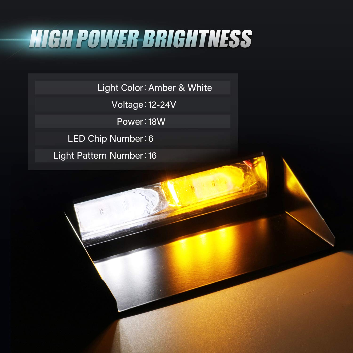 36PCS High Intensity 12V LED Yellow Mini Hazard Flashing Lamp with Rooftop Magnetic Base for Truck Boat Recovery Vehicles in Snow Fog Rain CZC AUTO LED Amber Emergency Warning Strobe Light Bar