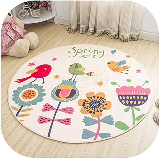 Cartoon Dinosaur Park Round Area Rug Bedroom Floor Carpet Memory Foam Yoga Mat