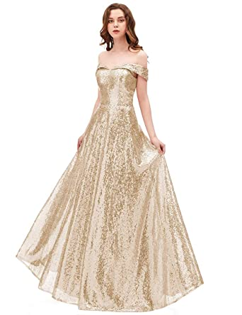 2018 Off Shoulder Sequined Prom Party Dresses for Women A Line Empire Waist  Robes Plus Size Formal Evening Skirts Long Elegant Gowns SHPD41 Light Gold  ...