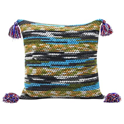 Power Source Solar Cells Boho Geometric Knitted Tassels Pillowcases Cotton Square Soft Cozy Decorative Throw Pillow Case Tassel Ball Design Pillow Covers