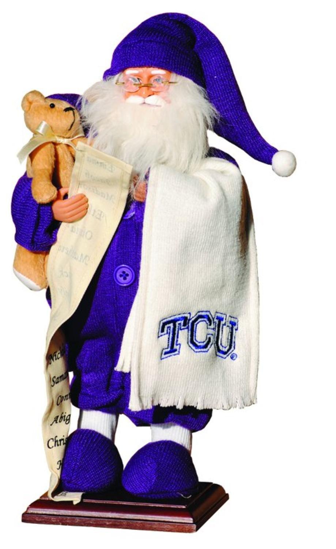 15'' NCAA TCU Horned Frogs Pajama Santa Claus Table Top Christmas Decoration