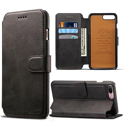 68f6898f9c iPhone 7 Plus Coque, iPhone 8 Plus Coque, Premium Cuir Portefeuille homme/ femme Dos Coque de ...