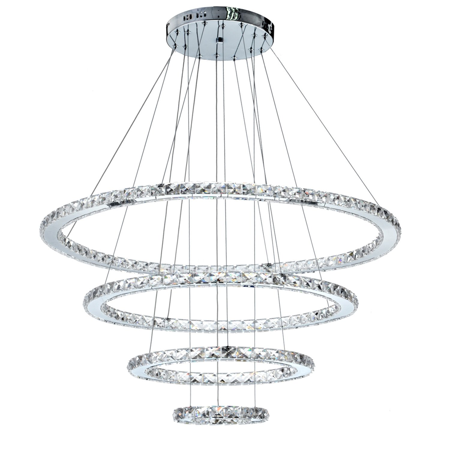 Meerosee Md8825 8642mncw Crystal Modern Led Ceiling Fixtures Pendant Wiring A Light Fitting Lighting Dining Room Contemporary Adjustable Stainless Steel Cable 4 Rings Chandelier