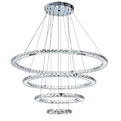 MEEROSEE MD8825-8642MNCW Crystal Modern LED Ceiling Fixtures Pendant Lighting Dining Room Contemporary Adjustable Stainless Steel Cable 4 Rings Chandelier, Cool White