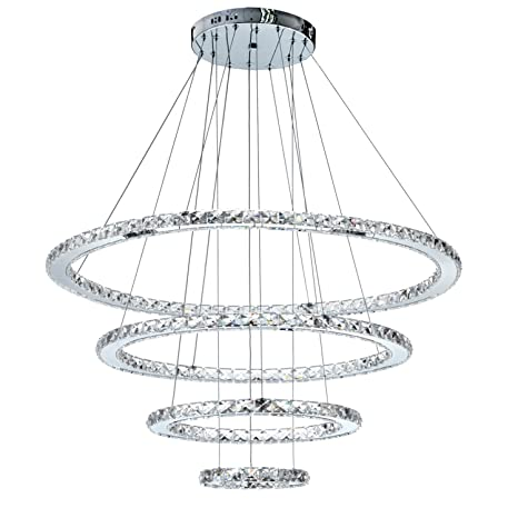 MEEROSEE MD8825 8642MNCW Crystal Modern LED Ceiling Fixtures Pendant  Lighting Dining Room Contemporary Adjustable Stainless