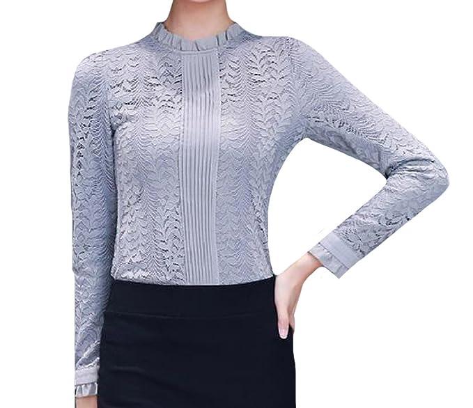 8b47a48abe6f0e Fseason-Women Lace Trim Warm Velvet Autumn Winter Elegent Down Tops Grey XL