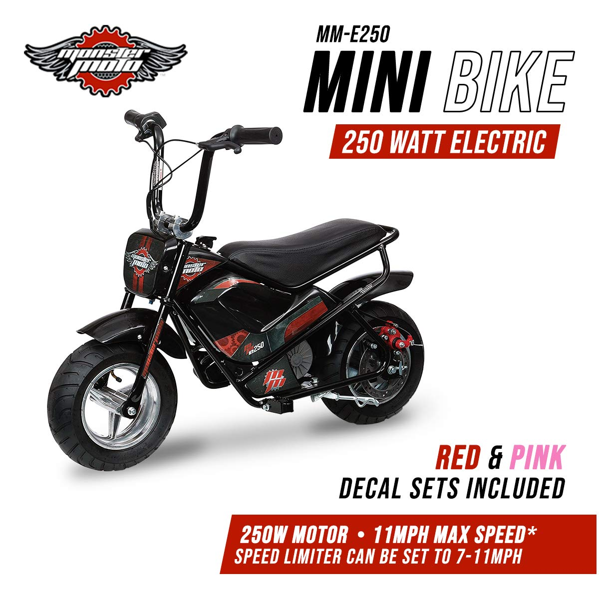 Monster Moto MM-E250-PR Black/Red/Pink Watt 250 W Electric Mini bike by Monster Moto (Image #1)