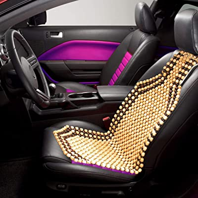 VaygWay Wood Beaded Seat Cushion – Wooden Beaded Car Seat Cover – Natural Wood Double Strung Beads – Massage Comfort Cover Car Seat – Universal SUV Auto Office Home: Home & Kitchen