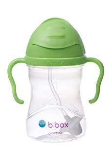 b.box Sippy Cup with Innovative Weighted Straw, Apple (Matte Lid)