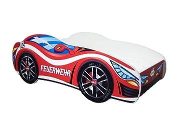 Amazon De Alcube Kinderbett Auto Bett Feuerwehr 140 X 70 Cm Mit