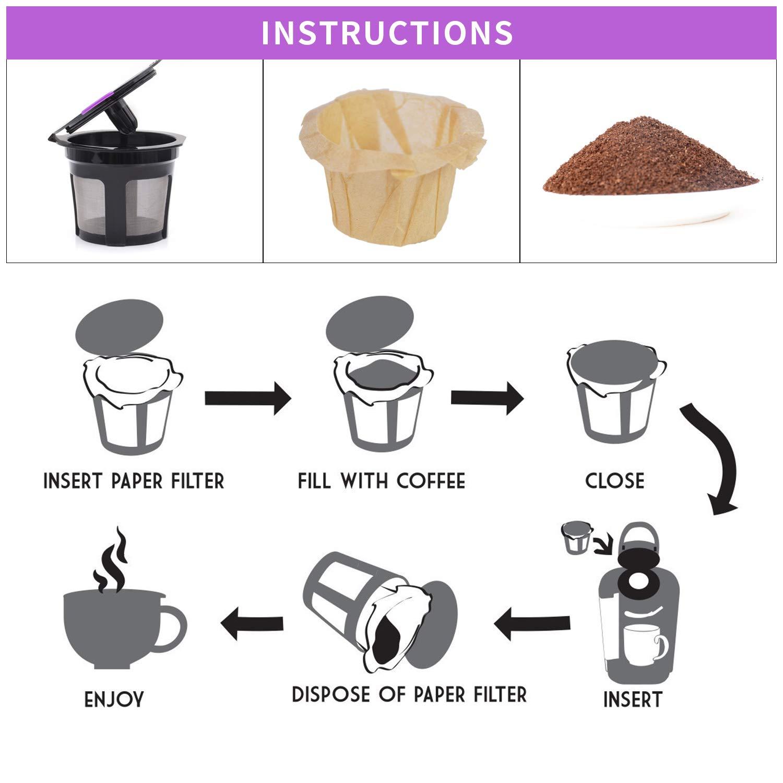 6 Pcs Reusable K Cup with 100 Pcs Disposable K Cup Paper Filter ...
