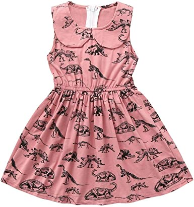 Fozerofo Toddler Baby Girl Dinosaur Party Dress Ruffle Sleeve Holiday Dress Outfit Clothes