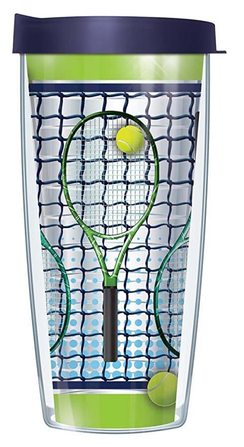 Amazon.com: Tennis Racquets Clear 16 Oz Traveler Tumbler Mug with Lid: Kitchen & Dining