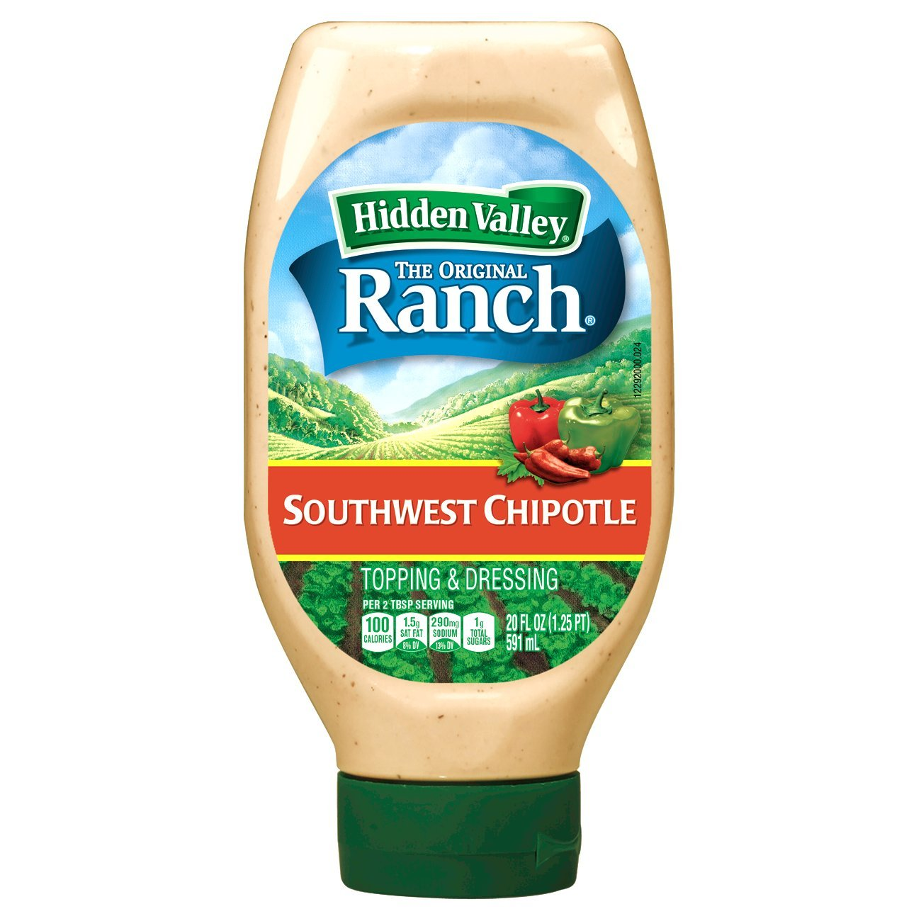 Hidden Valley Easy Squeeze Southwest Chipotle Ranch Topping & Dressing, Gluten Free - 20 Ounce Bottle (Pack of 6) by Hidden Valley