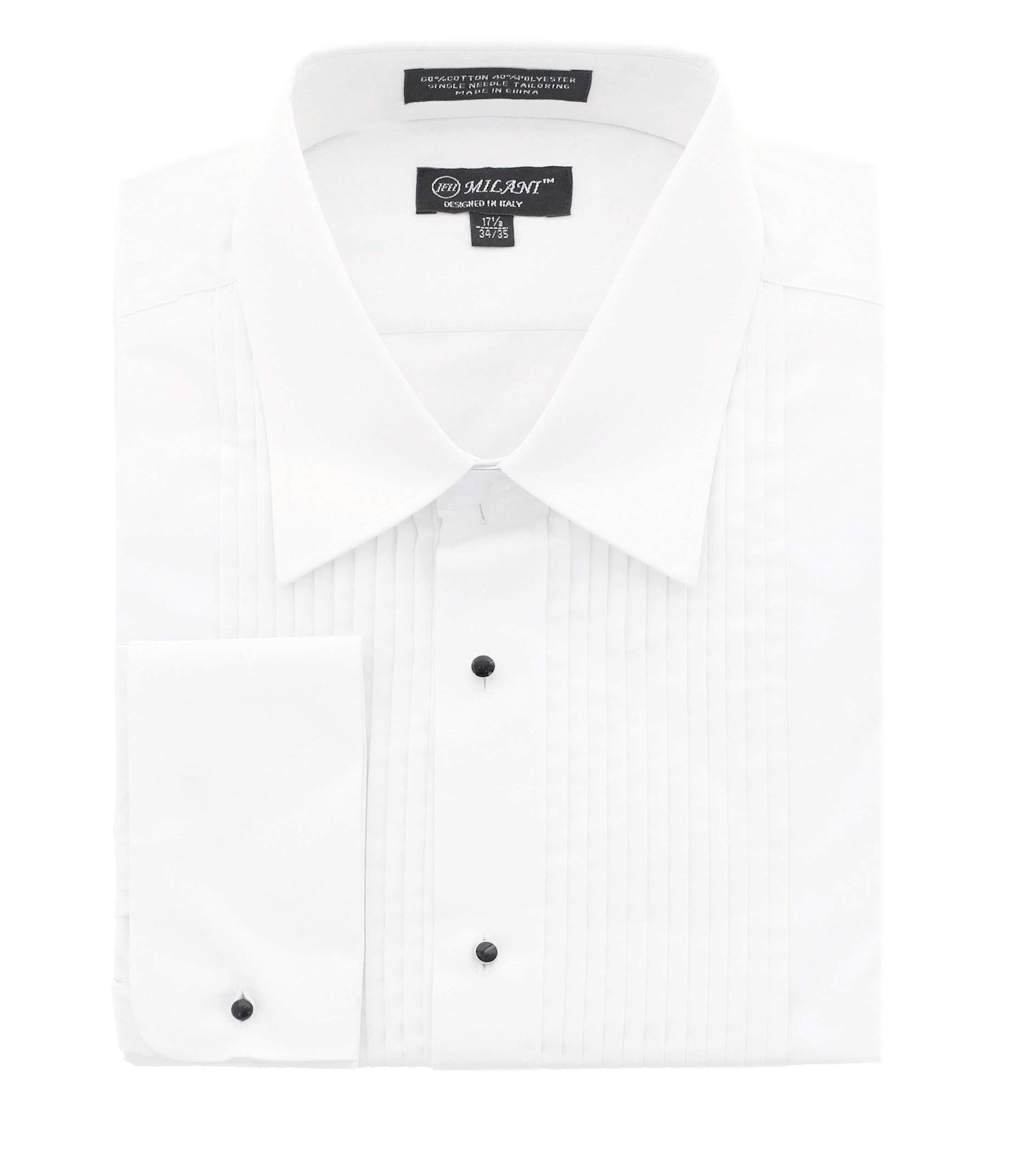 Milani Men's Tuxedo Shirt with French Cuffs 16'', 34/35 White by Milani