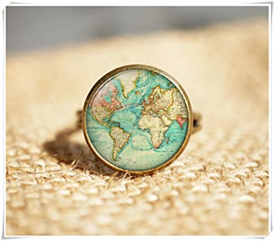 Antique world map rings antique map jewelry travel rings amazon antique world map rings antique map jewelry travel rings gumiabroncs Choice Image