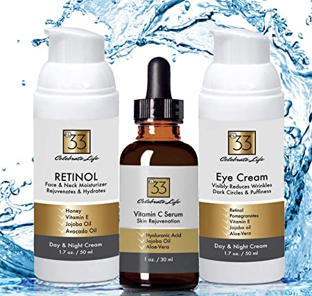 Amazing Deal-Buy Set For Special Low Price – Retinol Moisturizer Face and Neck Cream, Natural Anti-Aging-Vitamin C Serum Eye Cream w Retinol For Dark Circles and Puffiness All In One- Great Gift