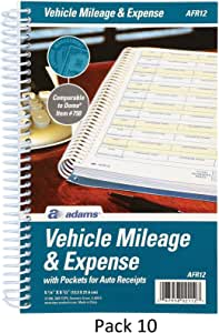 Adams vehicle mileage and expense book