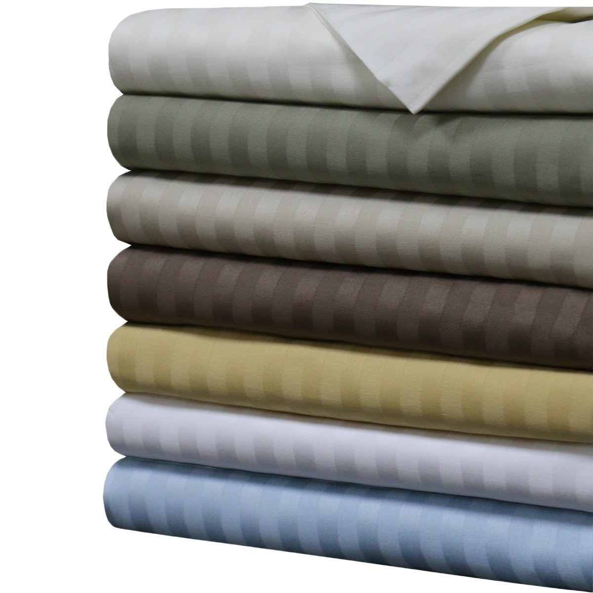 Stripes Gold 1000 Thread Count Queen Size Sheet Set, 100% Cotton Deep Pocket Bed Sheets 1000TC.