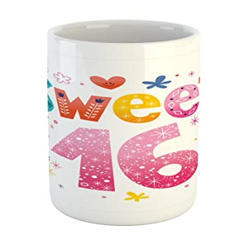Charming 16th Birthday Mug By Ambesonne, Cute Sweet Sixteen Hearts Stars And Flowers  Unique Girls Joyous