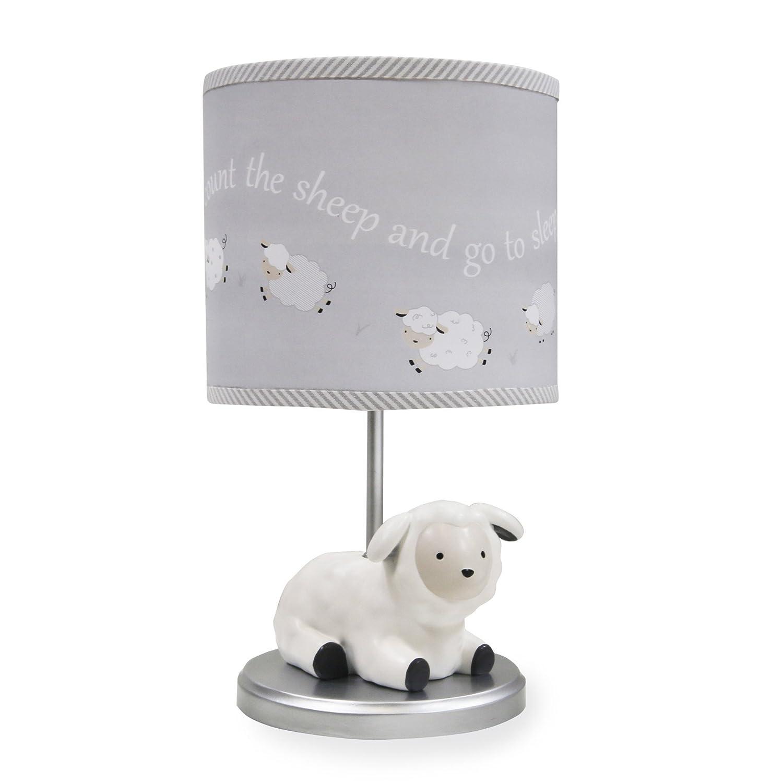 Lambs & Ivy Signature Goodnight Sheep Lamp with Shade & Bulb - Grey/White