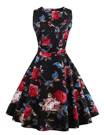Pinkyee Damen A-Linie Kleid Gr. S, Black-Red Floral