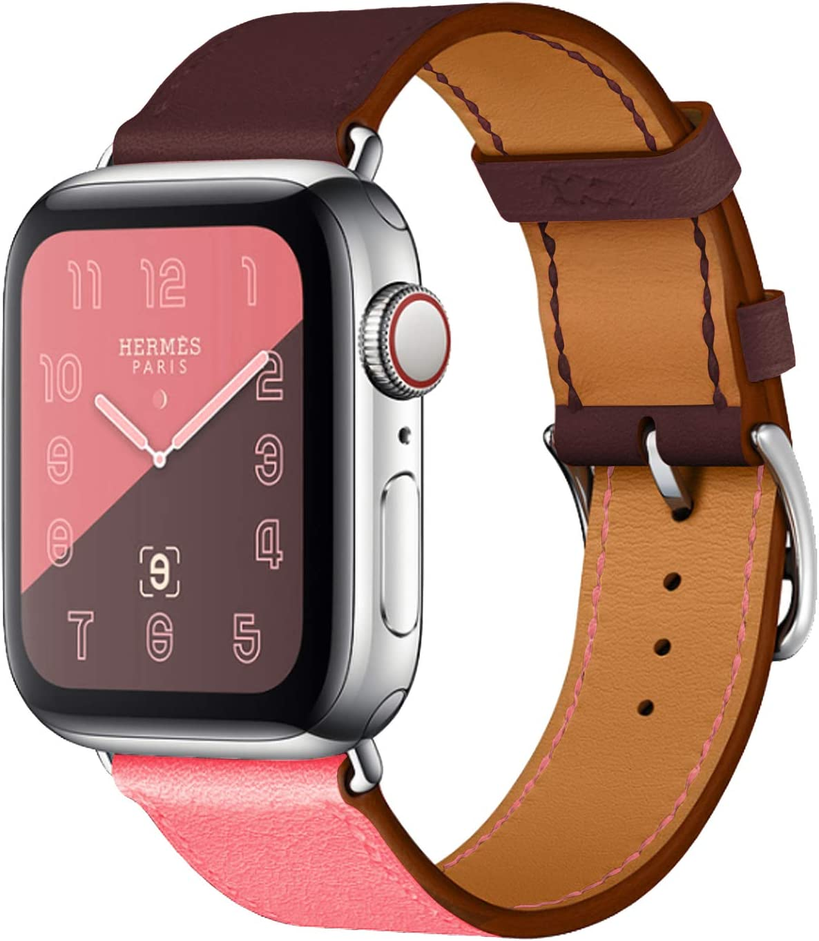 Compatible with Apple Watch Band 42mm 44mm Women Men, Pierre Case Genuine Leather Sweatproof Classic Replacement Strap Stainless Steel Buckle for iWatch Series 6/5/4/3/2/1 Wine red Pink