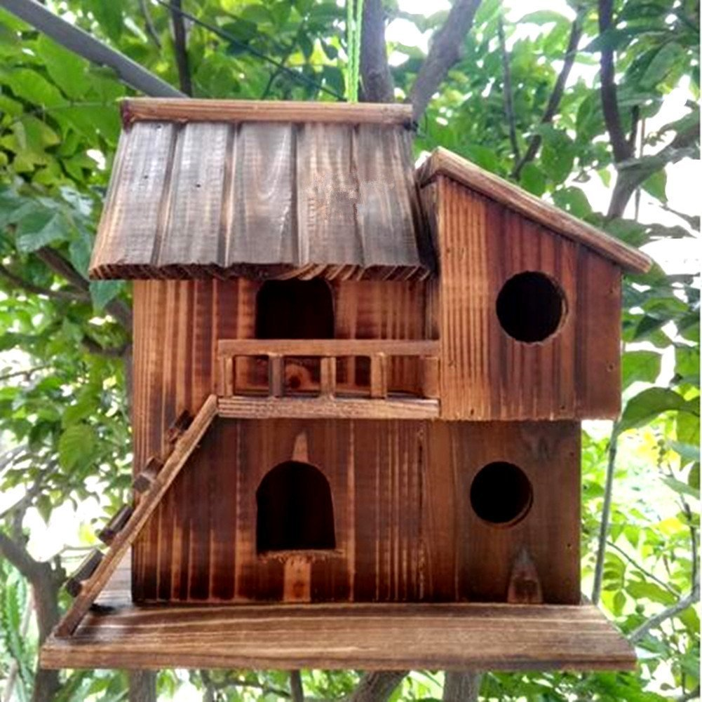 Preservative Wood Bird Houses for Outside Hanging Garden Decor,Birds Nest Box (L)