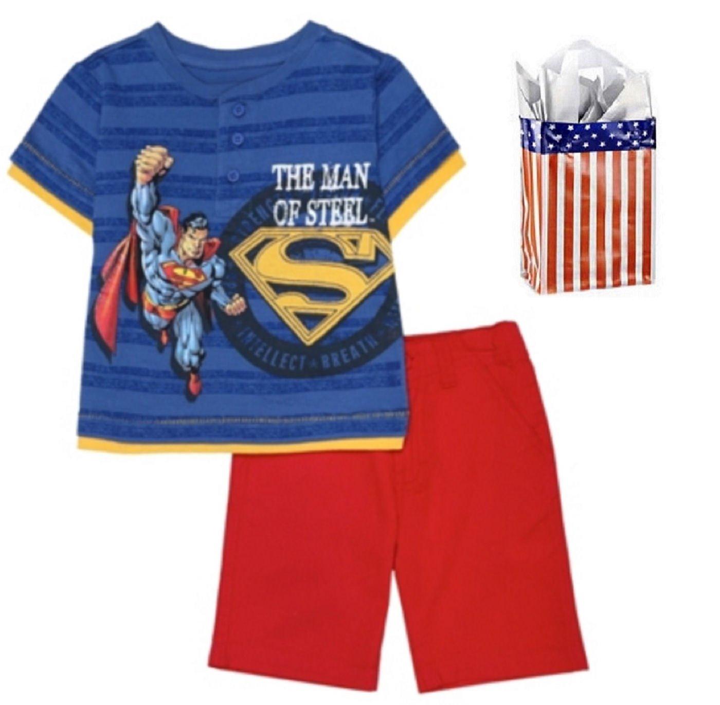 Superman Little Boys' The Man of Steel Shirt & Short Set & Bag - 3 Piece Gift Set (3T)