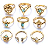 DDLBiz 9pcs/Set Women Vintage Bohemian Silver Stack Rings Above Knuckle Rings Set Jewelry Gift