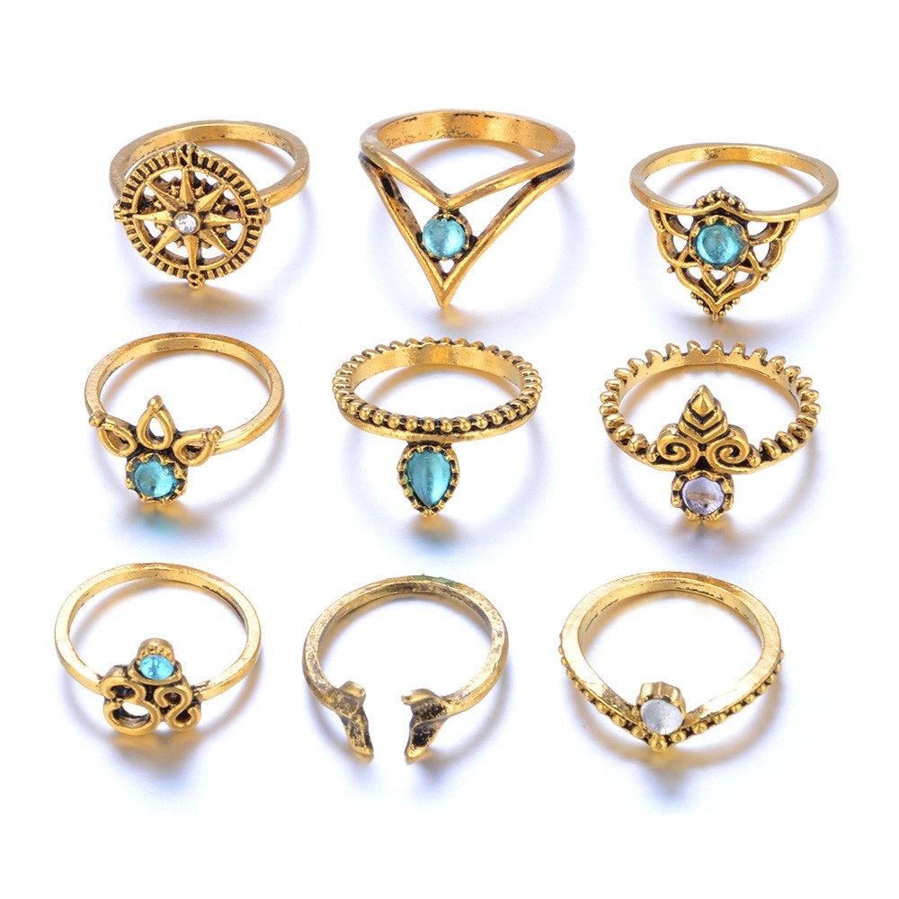 Nihewoo 9 Pcs Vintage Knuckle Ring Set for Women Girls Stackable Rings Stackable Midi Finger Ring Set (Gold)