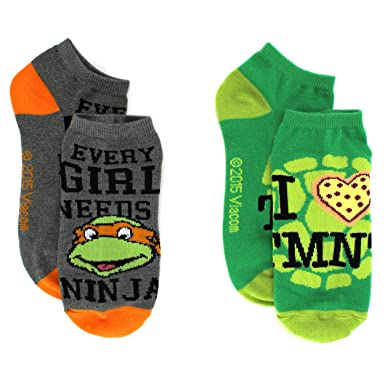 40b882faf92 TMNT Teenage Mutant Ninja Turtles Womens 2 pk Ankle Socks (9-11 (Shoe