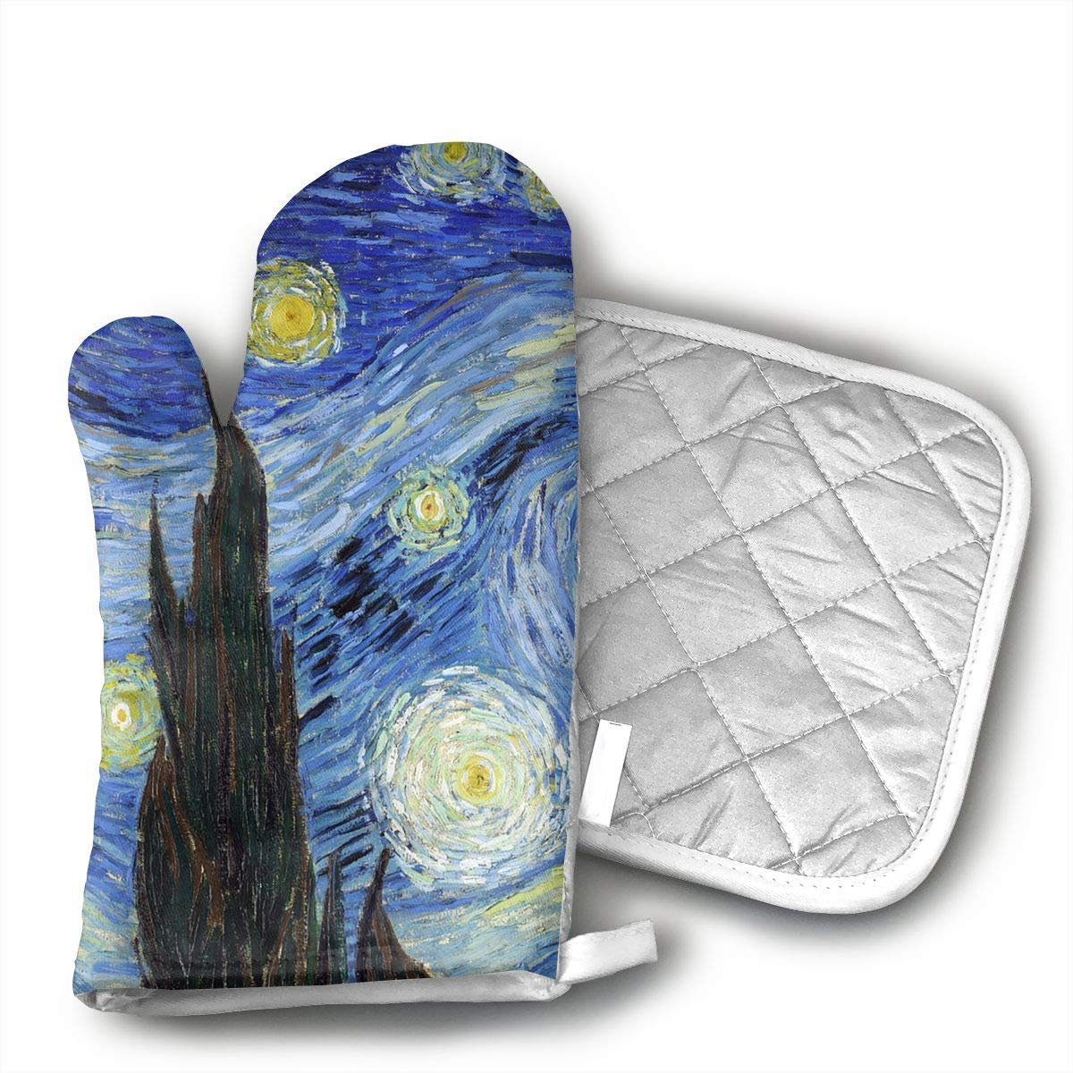 NoveltyGloves Van Gogh Starry Night Oven Mitts,Professional Heat Resistant Microwave BBQ Oven Insulation Thickening Cotton Gloves Baking Pot Mitts Soft Inner Lining Kitchen Cooking