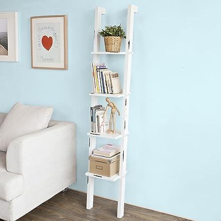 SoBuy® - Estantería de escalera de estilo retro. Librería con estantes esquineros, porta-CD, efecto usado, FRG137-W,IT: Amazon.es: Hogar