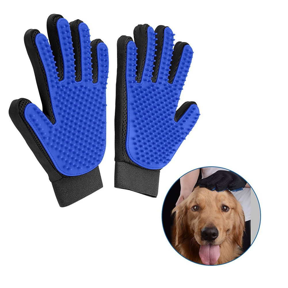 Bello Luna Pet Grooming Gloves Brush Mitt, 1 Pair Pet Hair Remover Mitt and Deshedding Brush Gloves Gentle Massage Tool with Soft Rubber Tips for Cats, Dogs & Horses PETS-072