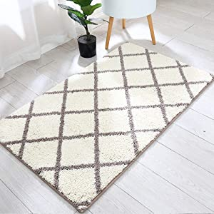 Trellis Area Rug Made of 100% Polyester Extra Soft and Non Slip,Specialized in Machine Washable Accent Rug(Khaki,45x27 Inch )
