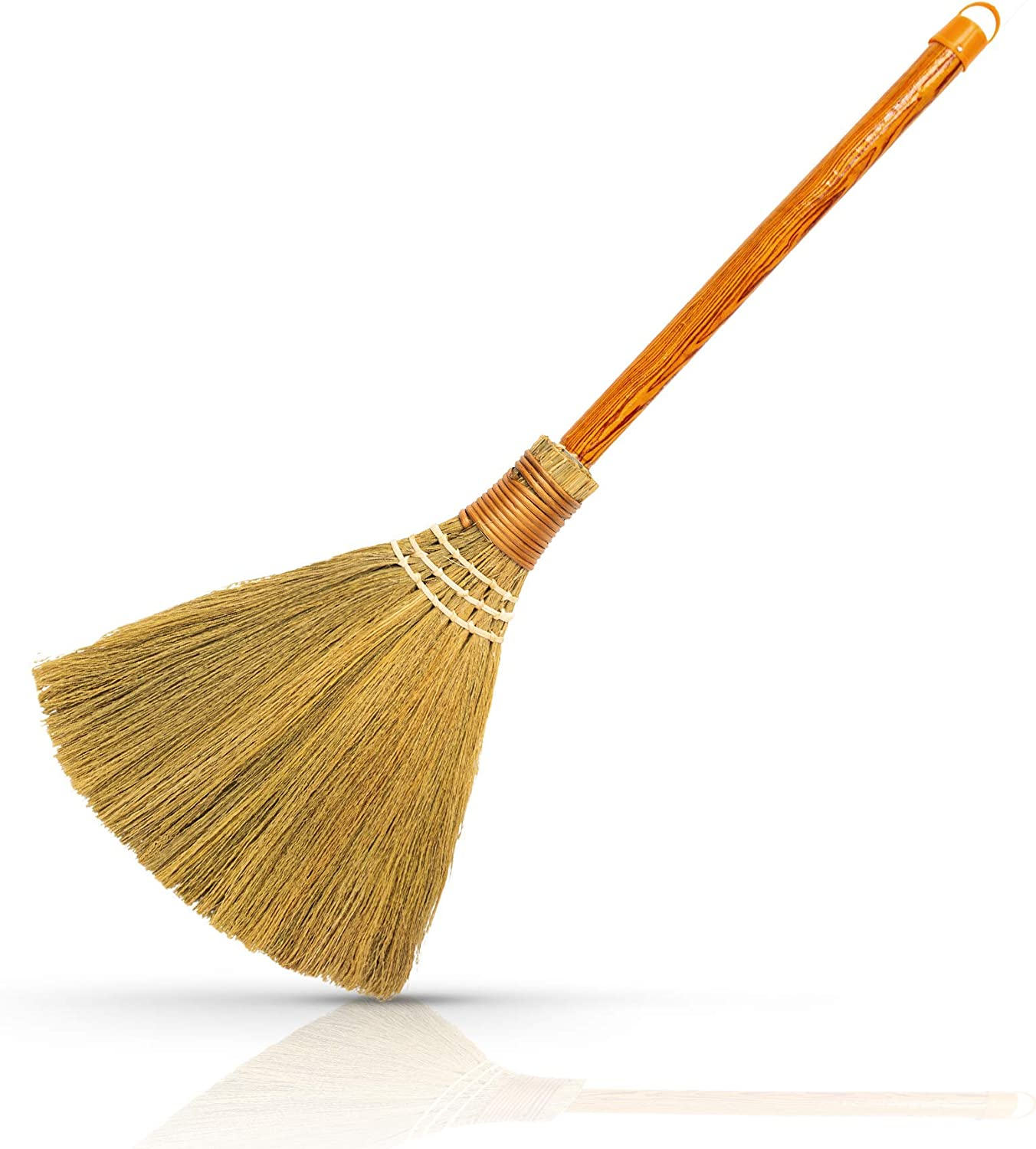 Natural Whisk Sweeping Hand Handle Broom - Vietnamese Straw Soft Broom for Cleaning - Decoration Items - Indoor - Outdoor - 7.87'' Width, 24.4