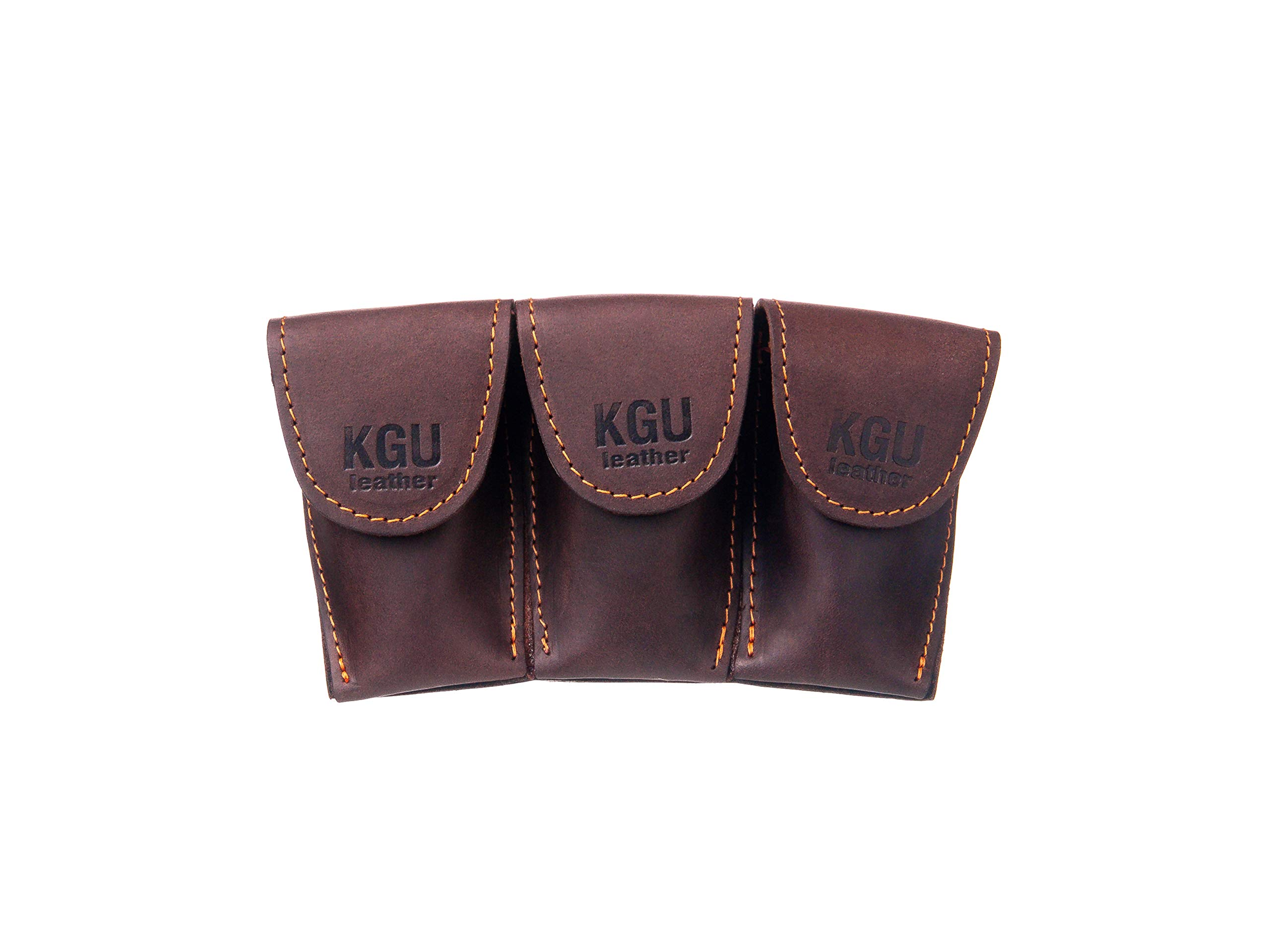 FRENCH HORN MOUTHPIECE POUCH (3 MODELS). CRAZY HORSE LEATHER. (Triple, Brown)
