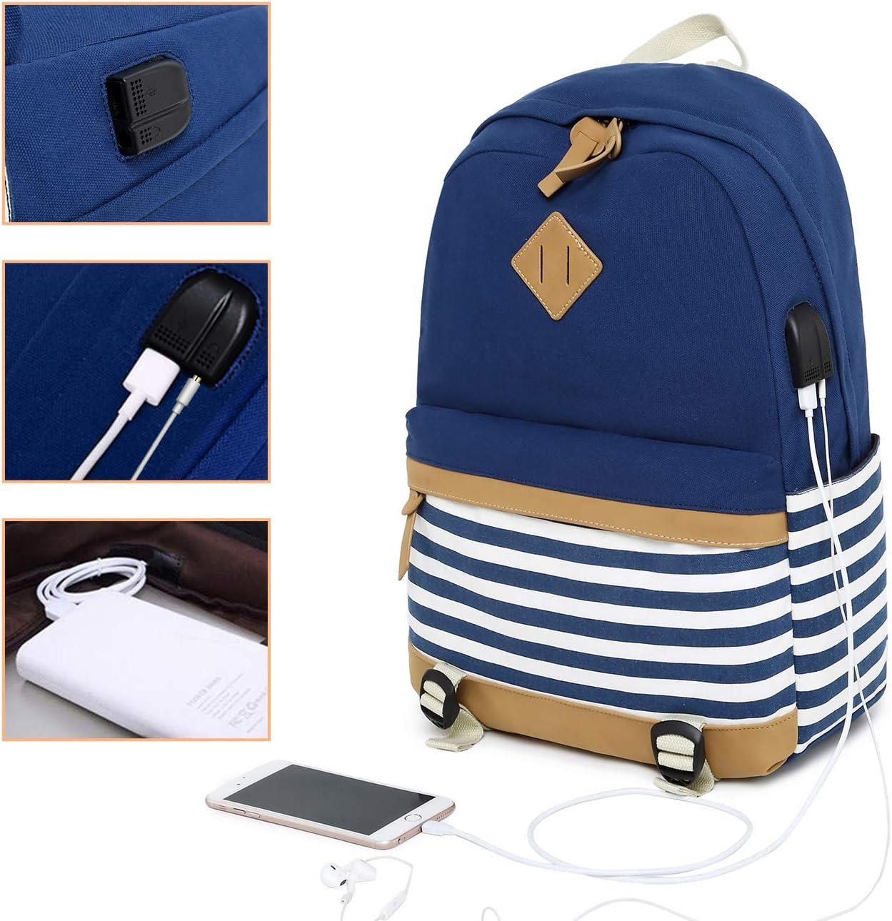 Mochila de Lona para Estudiante Mochila Universitaria Unisex Bolsa Trasera con Puerto de Carga USB Azul