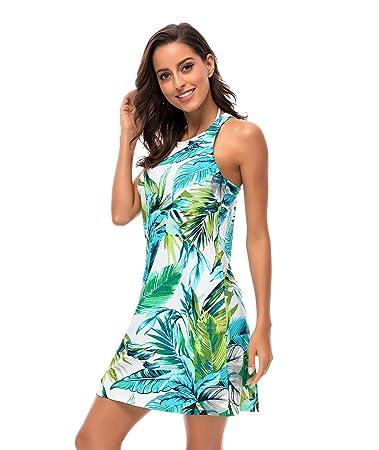 ac3979c4ec4187 BELLOO Women Sexy Swimsuit One Piece Swim Dress Back Strap Swimwear  Slimming Skirt Bathing Suit Dress