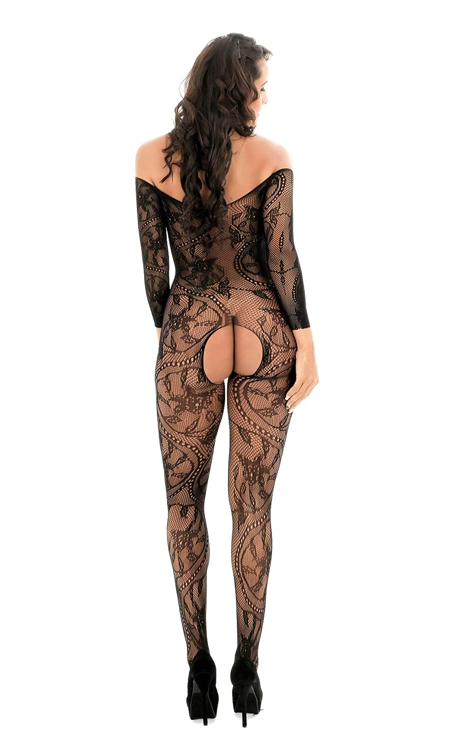 99324bc43 Amazon.com  HiSexy Women s Full Body Fishnet Bodystocking Long Sleeve Sheer  Sexy Foral Lingerie Bodysuit Black  Clothing