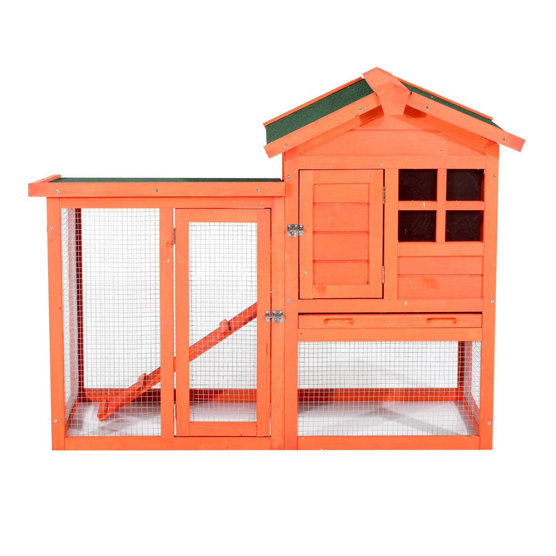 PawHut 48'' Wooden Rabbit Hutch w/Ladder and Outdoor Run - Orange