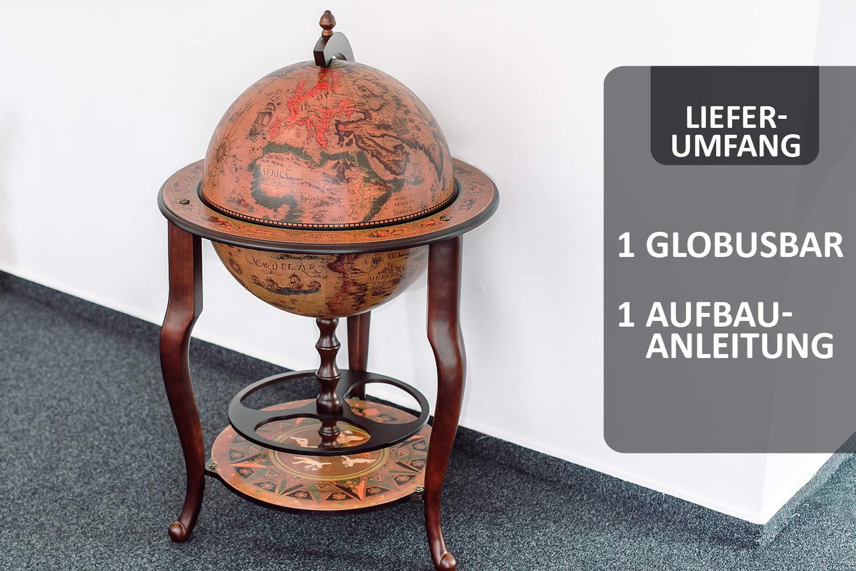 Sophisticated Home D/écor Stilemo Old World Globe Bar Whisky Bar Globe 16th-Century Italian Replica Bars and Wine Cabinets 115 x 61 cm