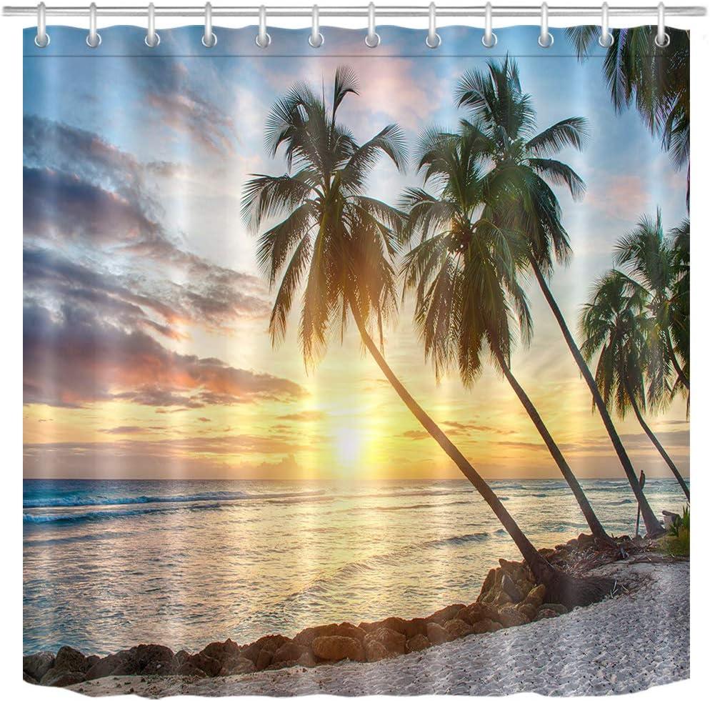 Tropical Ocean Beach Shower Curtain Set Waterproof Fabric Bathroom w//12 Hooks