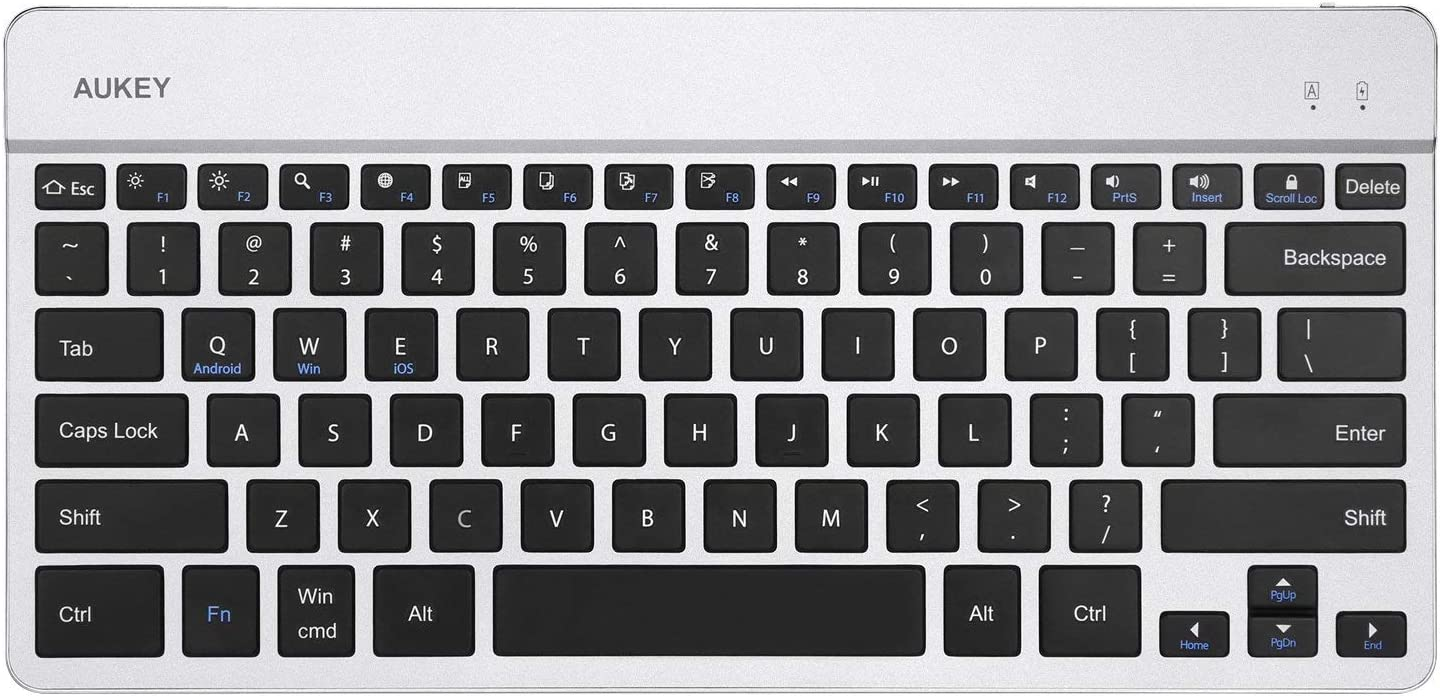 AUKEY Bluetooth Keyboard Aluminum Alloy Wireless Ultra-Slim Keyboards with Li-Polymer Rechargeable Battery for iOS, Windows and Android